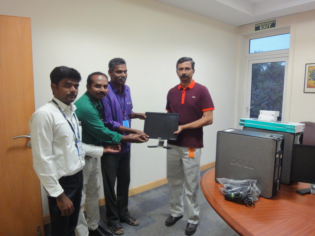 1.	Four computers, four keyboards, four mouses, and four CPUs from Integra were donated to USS Trust, Pillapakkam, Cheiyur taluk, Kanchipuram District, Tamil Nadu, in order to help poor village students having computer knowledge