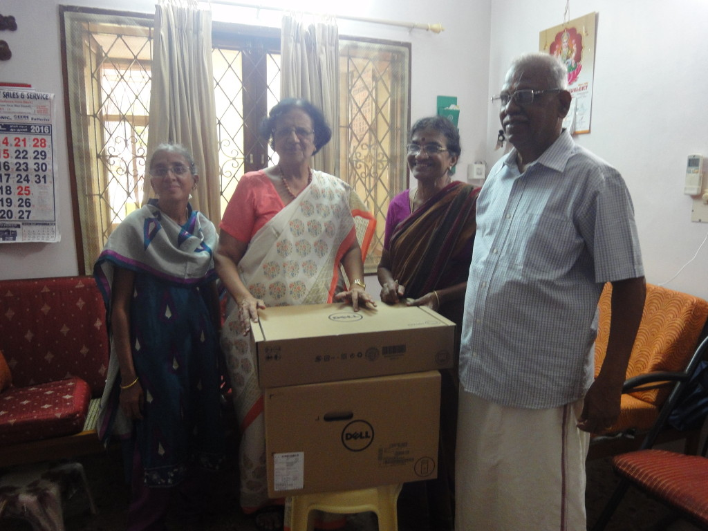 Mr. Devanathan Vasantha, on behalf of Sriram Charitable Trust, handed over a set of new computer to Dr. P. Nalini from Hemophilia Society in Pondicherry