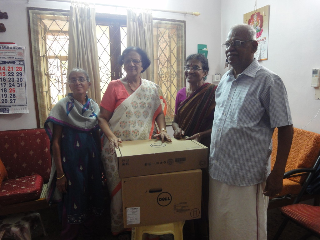 Parents of trustee donated a new computer to Dr. P. Nalini from Hemophilia Society at Puducherry