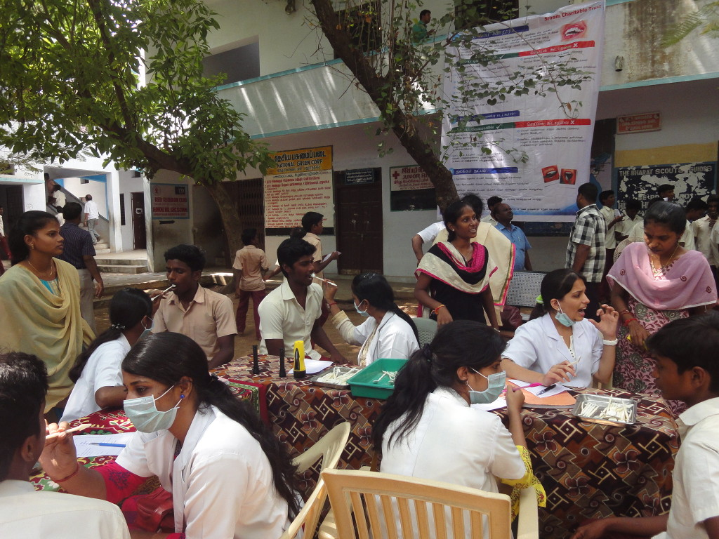 The Trust conducted dental camp for the Hindu Higher Secondary School at Mathuranthagam, with the support of V-Care Hospital, Pondicherry