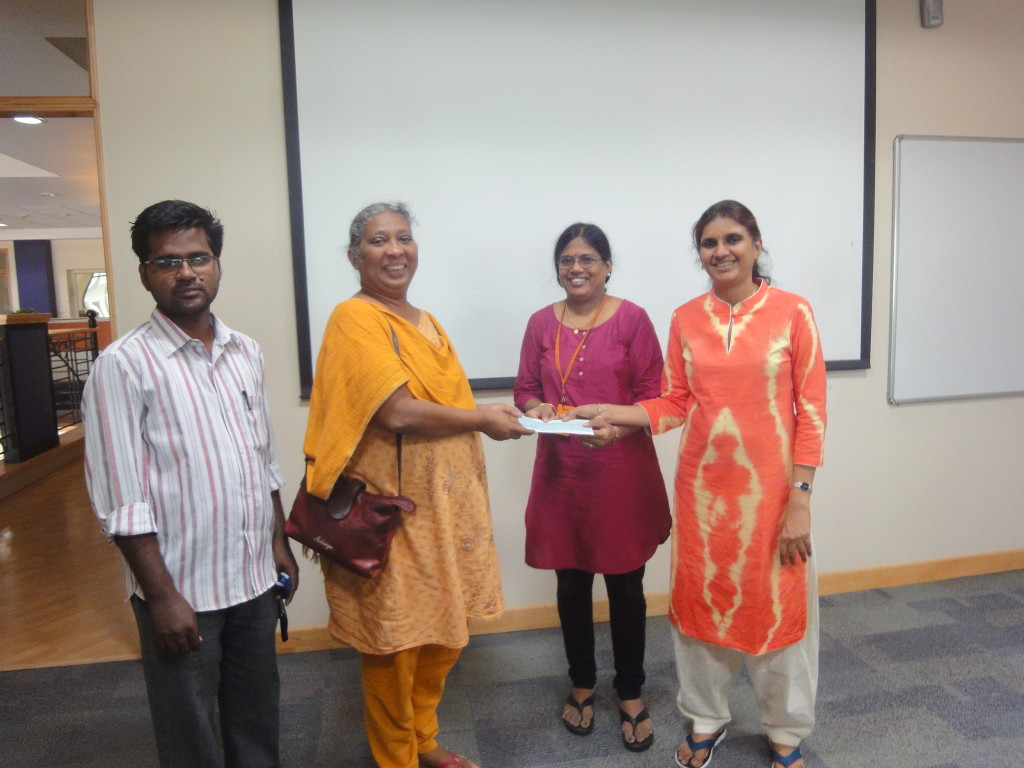 The trustee gave educational aid cheque to Mrs. Alice Thomas, founder of Udhavi Karangal, an orphanage home, for the inmates' higher studies