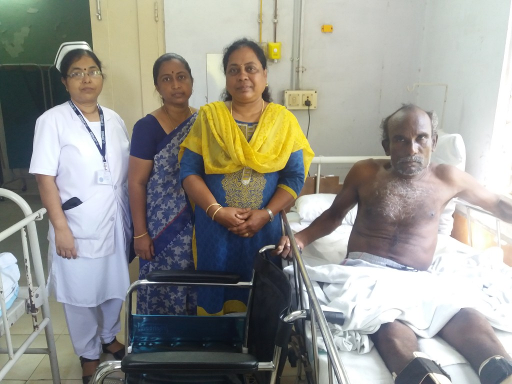 1.The Trust representative, on behalf of Sriram Charitable Trust, donated a wheelchair to a poor lower-limb-affected patient at JIPMER Orthopedics Department.-(H)