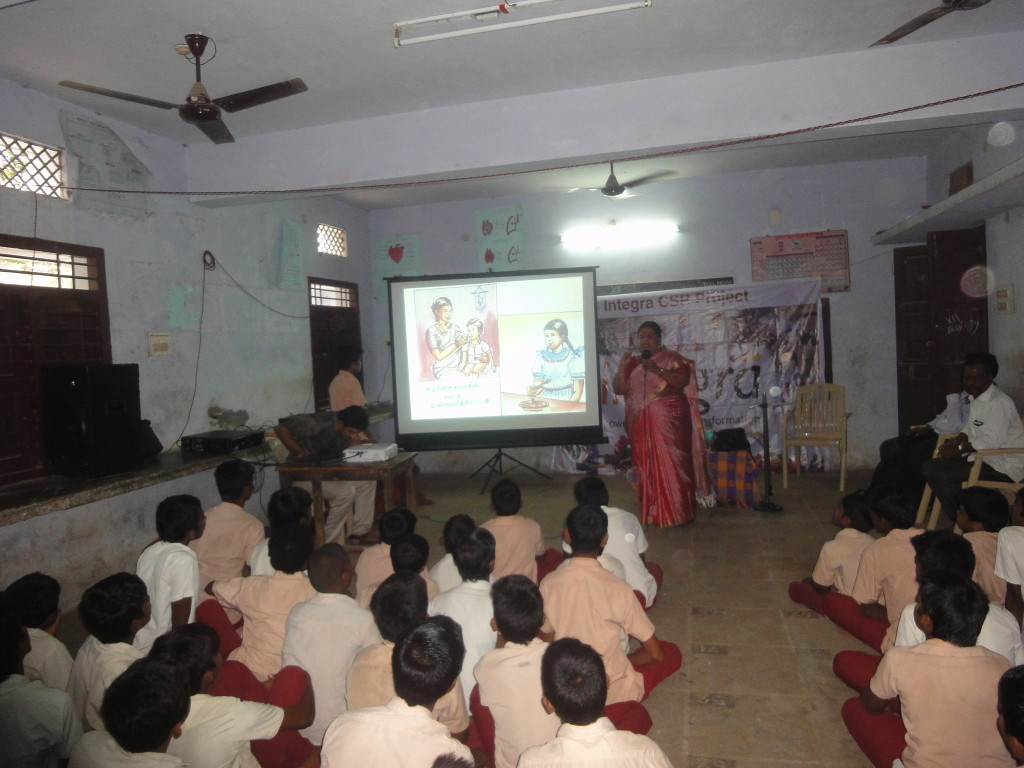 Integra, with the help of P&SM department of JIPMER, conducted a substance abuse program at HINDU Higher Secondary School at Mathuranthagam. About 700 students of 9th and 11th standards were benefited.